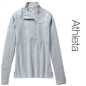 Athleta Gray Half Zip Quilted Panel Pullover S